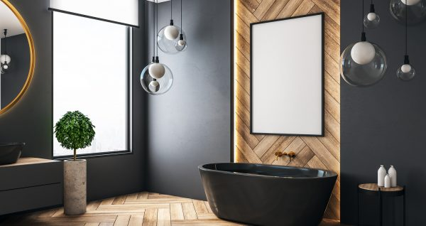 Modern grey bathroom interior with decorative tile wall, bath tub and lamps. 3D Rendering